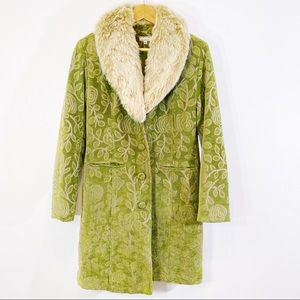 Giacca green brocade faux fur collar long coat
